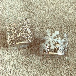 2 Bath & Body Works Snowflake Candle Holders